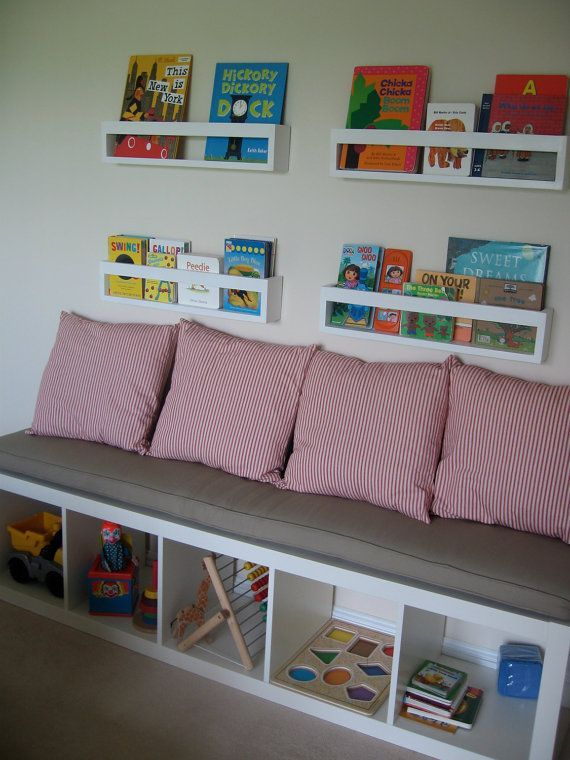 Ikea kallax custom cushion playroom nursery organization bench seat playroom cushion bench - Kinderzimmer franzosisch ...