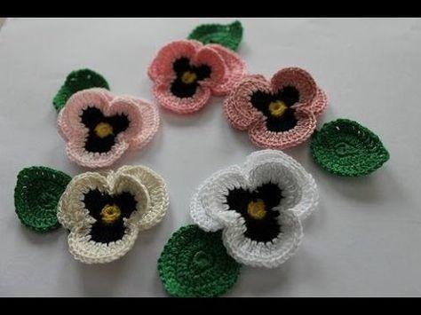 Crochet pansy Как вязать анютины глазки крючком Цветок 71 ...