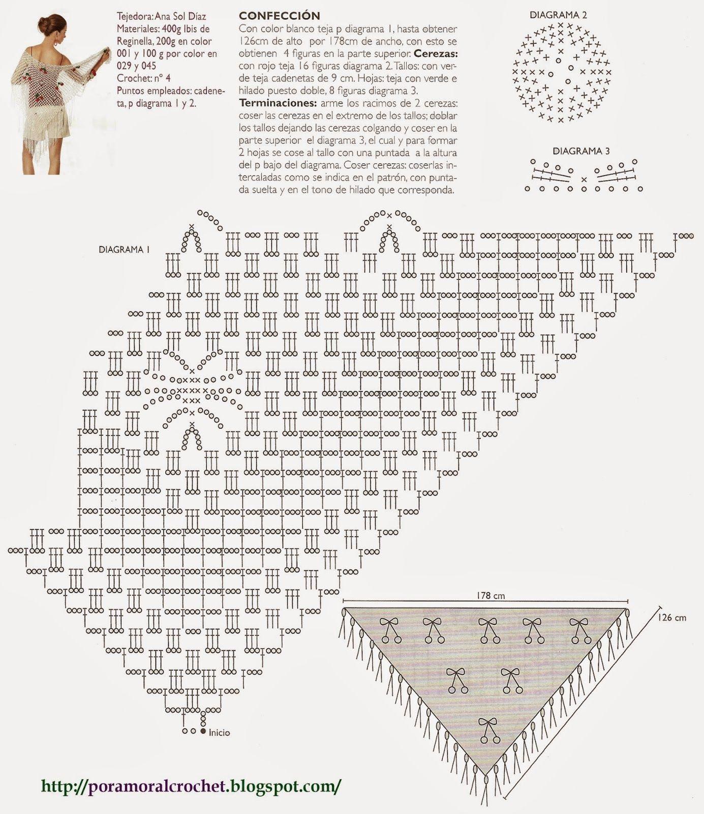 Chal con Guindas - Diagrama   Por Amor Al Crochet   Pinterest   Chal ...