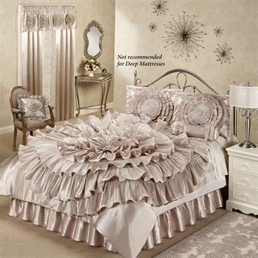Ruffled Romance Champagne Bed Set Bed Comforter Sets Bedroom Bedding Sets Bed Linen Design
