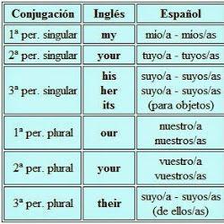 Tabla de adjetivos y pronombres posesivos en ingles