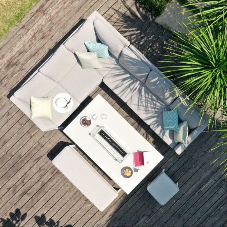 Photo of Maze Lounge Outdoor Fabric Pulse Rectangular Lead Chine Corner Dining Set with Fire Pit