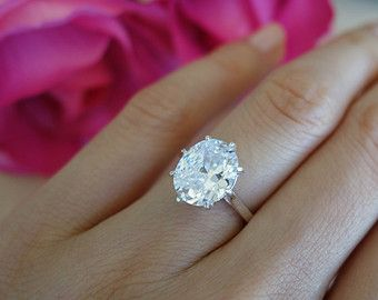 4 Carat Oval Diamond Anniversary Engagement 8 Prong Ring Size 4 5