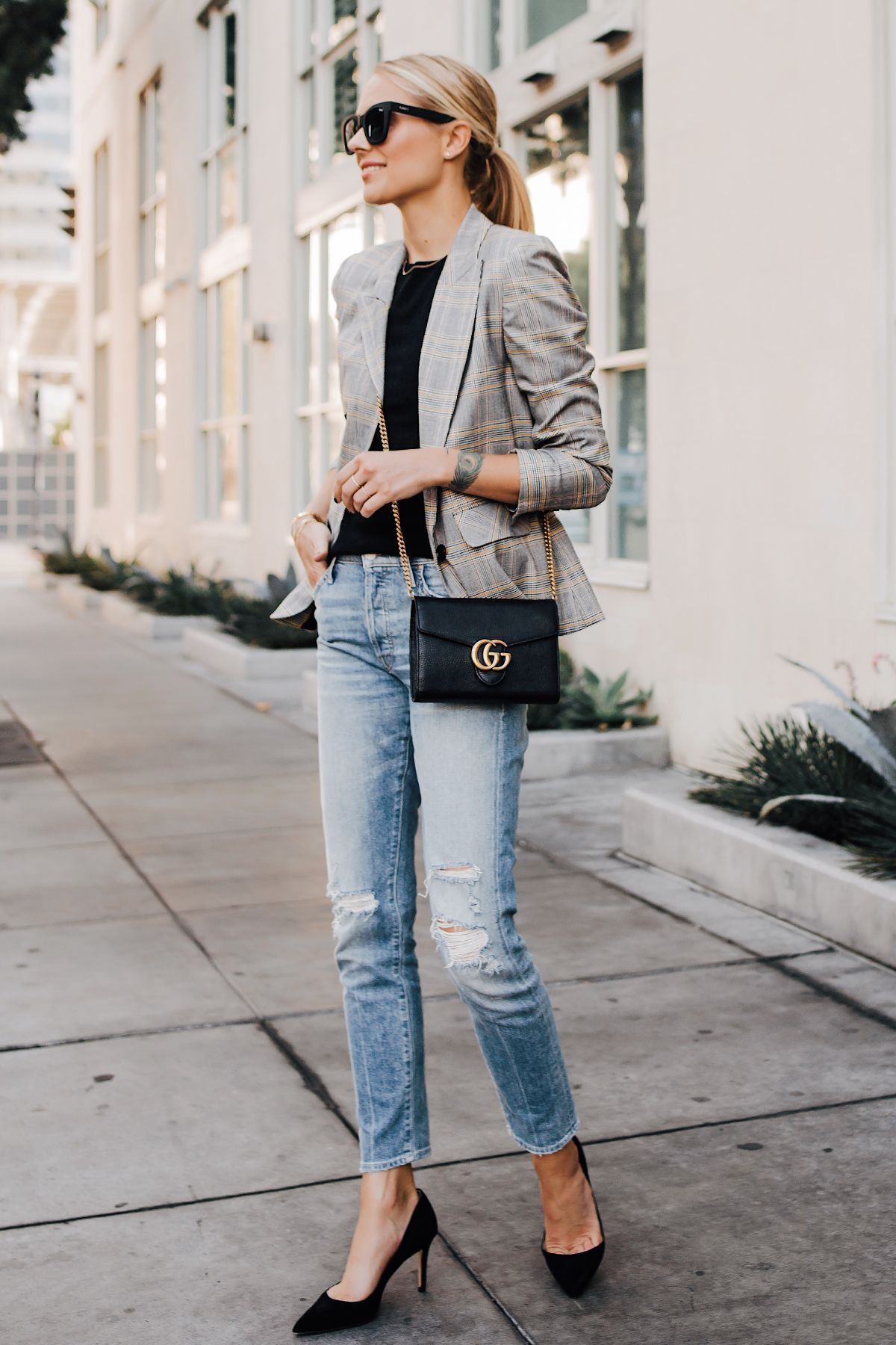 5f946d3d80 Blonde Woman Wearting Plaid Blazer Mother Ripped Denim Jeans Black Pumps  Gucci Black Handbag Fashion Jackson San Diego Fashion Blogger Street Style