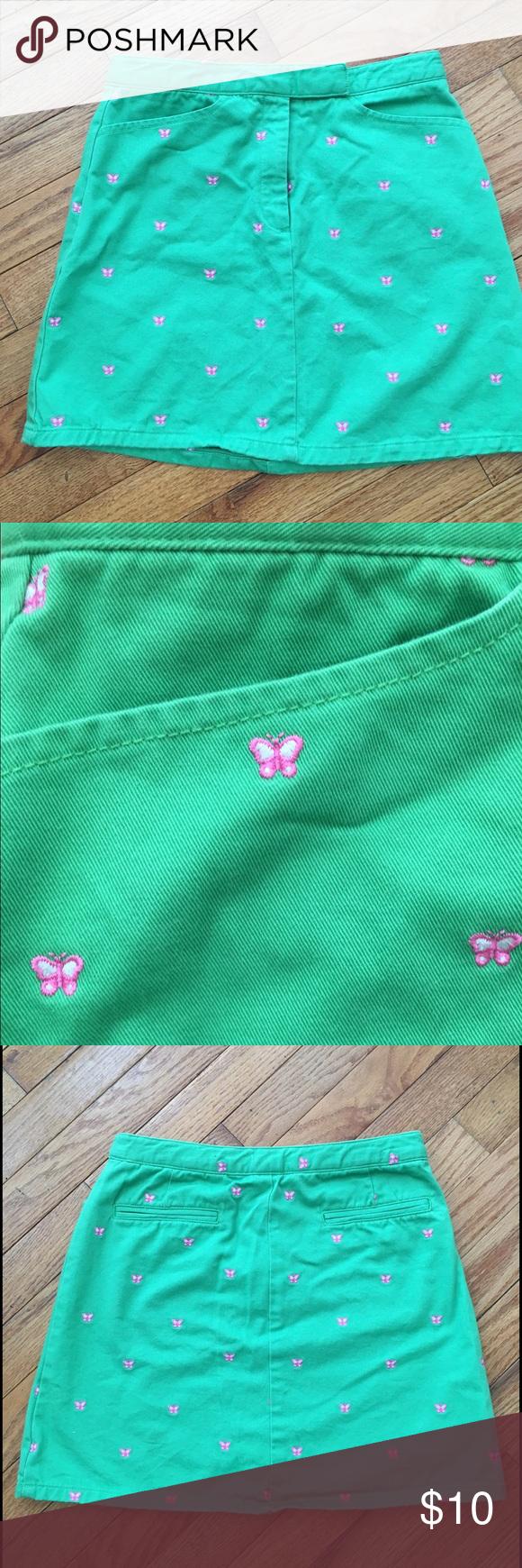 GAP Factory Store Girls Skirt GAP Factory Store girls green skirt with pink butterflies. Gap Bottoms Skirts