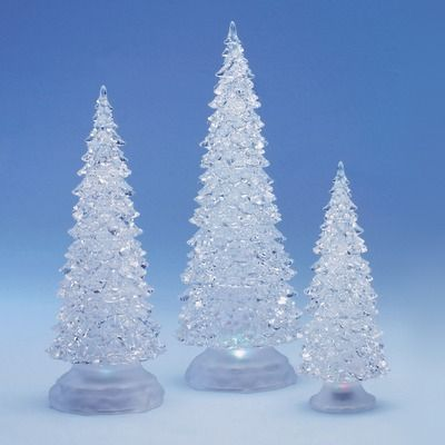 Roman 3 Piece Frosty Shimmer Christmas Tree Figurines
