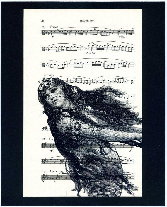 Mermaid Music Book Print - Mounted on 8x10 Black Card Stock