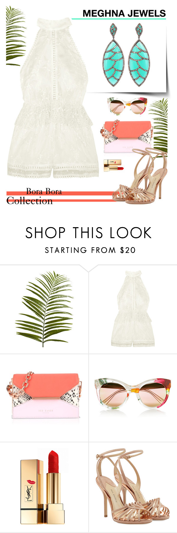 """""""MEGHNA JEWELS-Bora Bora collection"""" by gabyidc ❤ liked on Polyvore featuring Pier 1 Imports, Zimmermann, Ted Baker, Gucci, Yves Saint Laurent and Paul Andrew"""