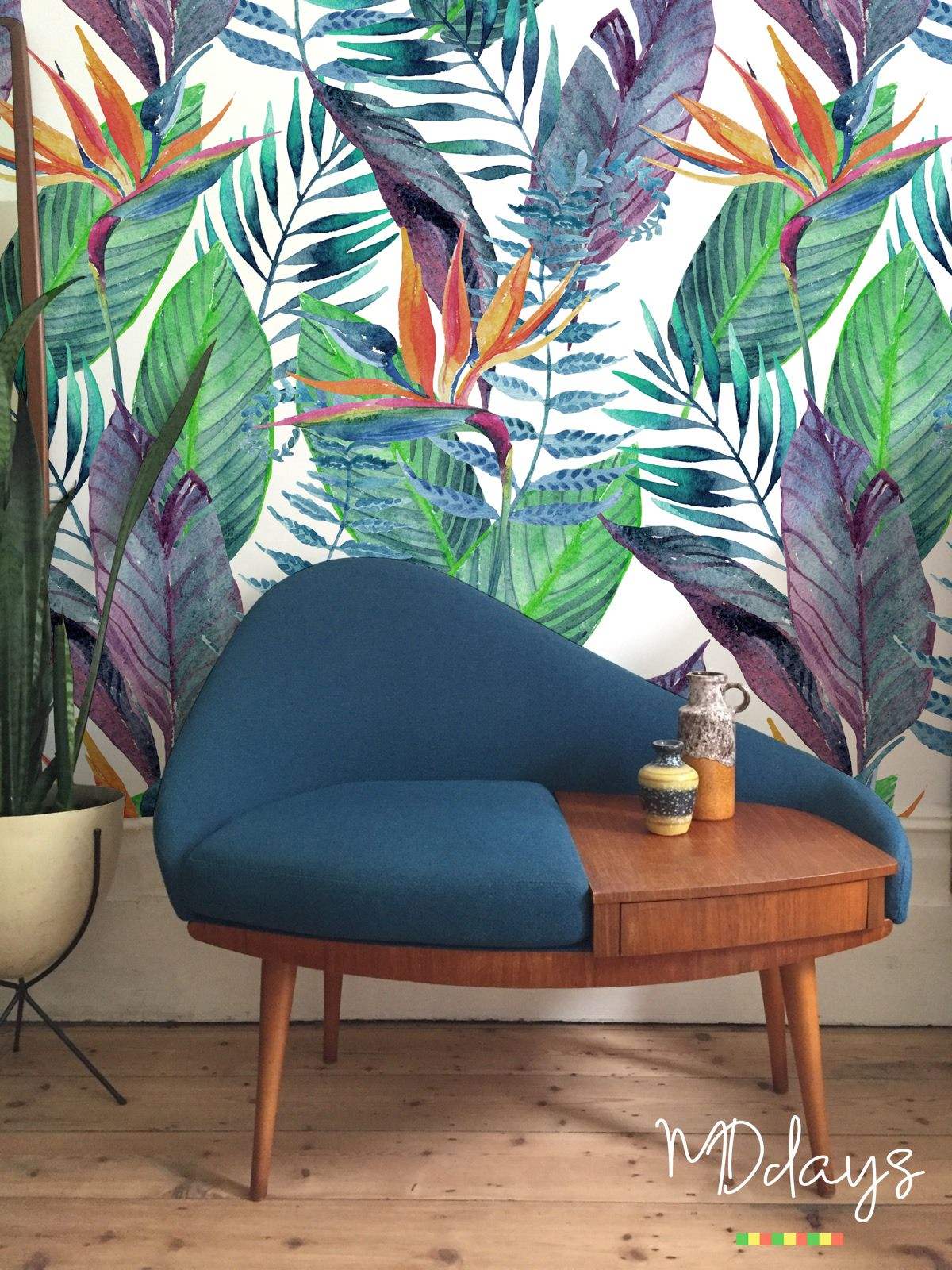 Bird Of Paradise Floral Wallpaper Tropical Wall Mural Etsy Decor Removable Wallpaper Floral Wallpaper