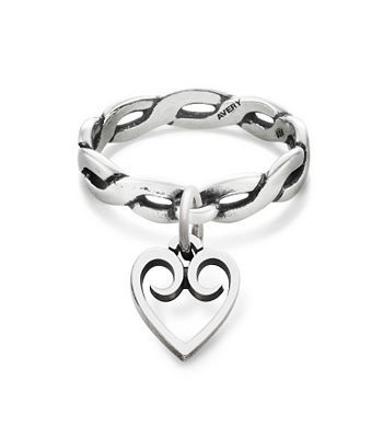 Twisted Wire Dangle Ring with Heart Charm