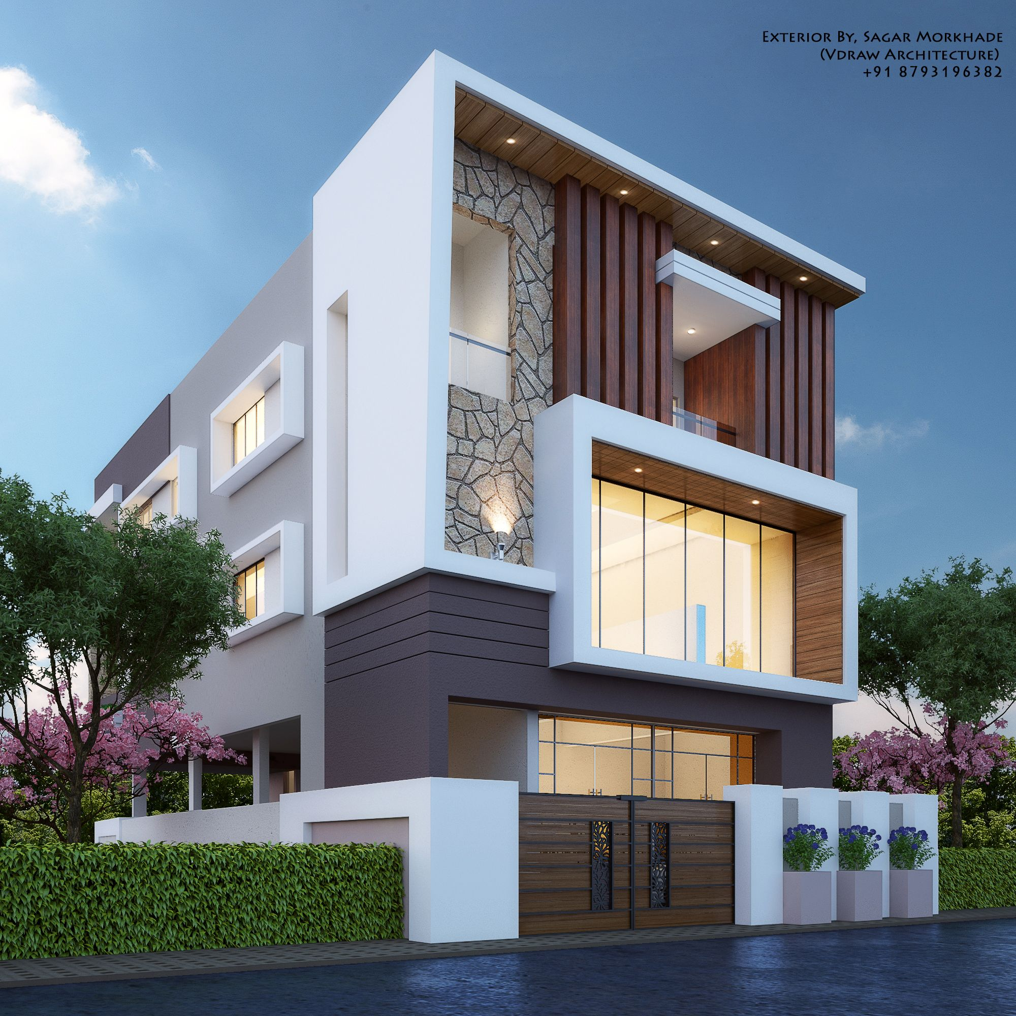 Contemporary Home Exterior Design Ideas: Modern House Bungalow Exterior By, Sagar Morkhade (Vdraw