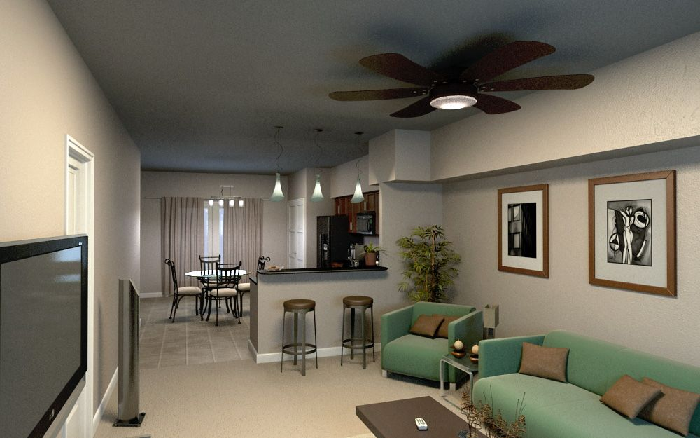 3d Floorplan From One Of The Units In Brookside Downtown Apartment Development For Whole