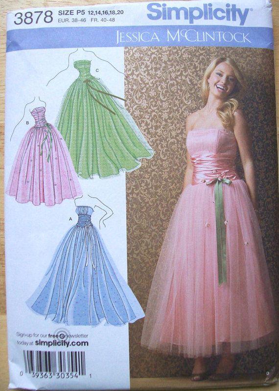 Jessica Mcclintock Sewing Pattern Plus Size Xl Formal Dress