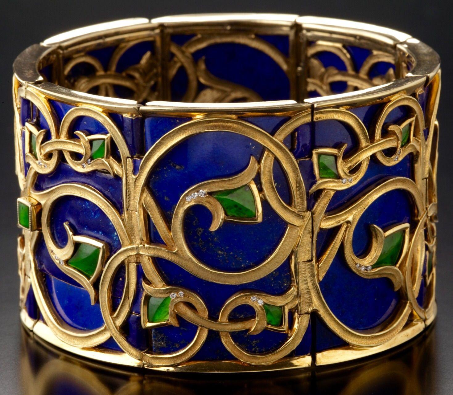 Lapis Lazuli Peridot Diamond And Gold Bracelet By Thomas Herman