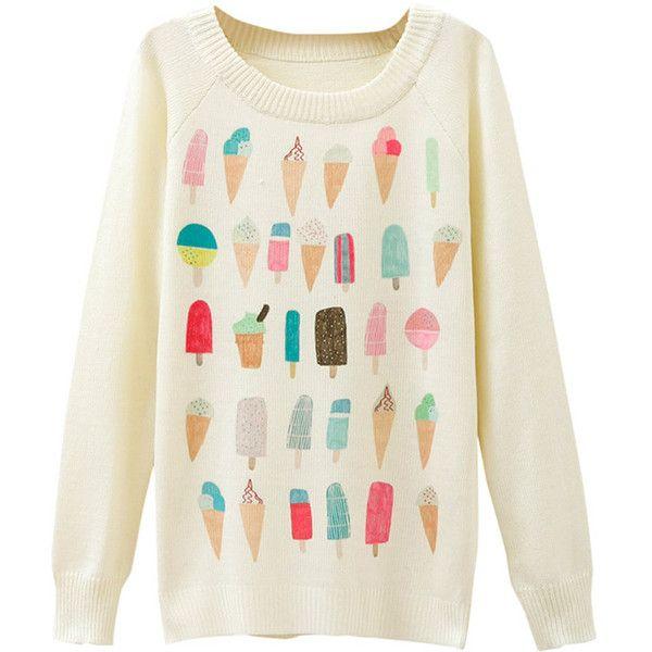 Ladies Ice Cream Printed Crew Neck Pullover Sweater White ($12 ...