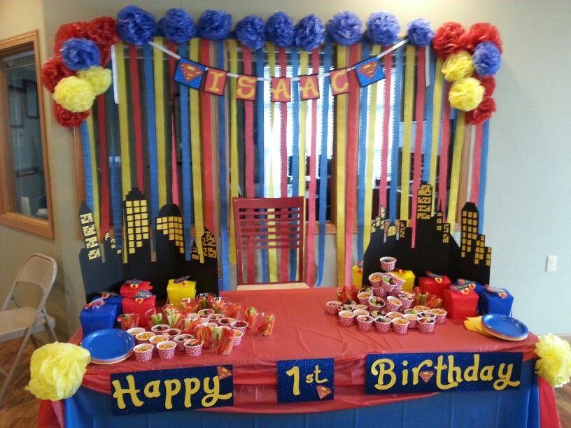 my nephews superman themed 1st birthday party diy projects to try