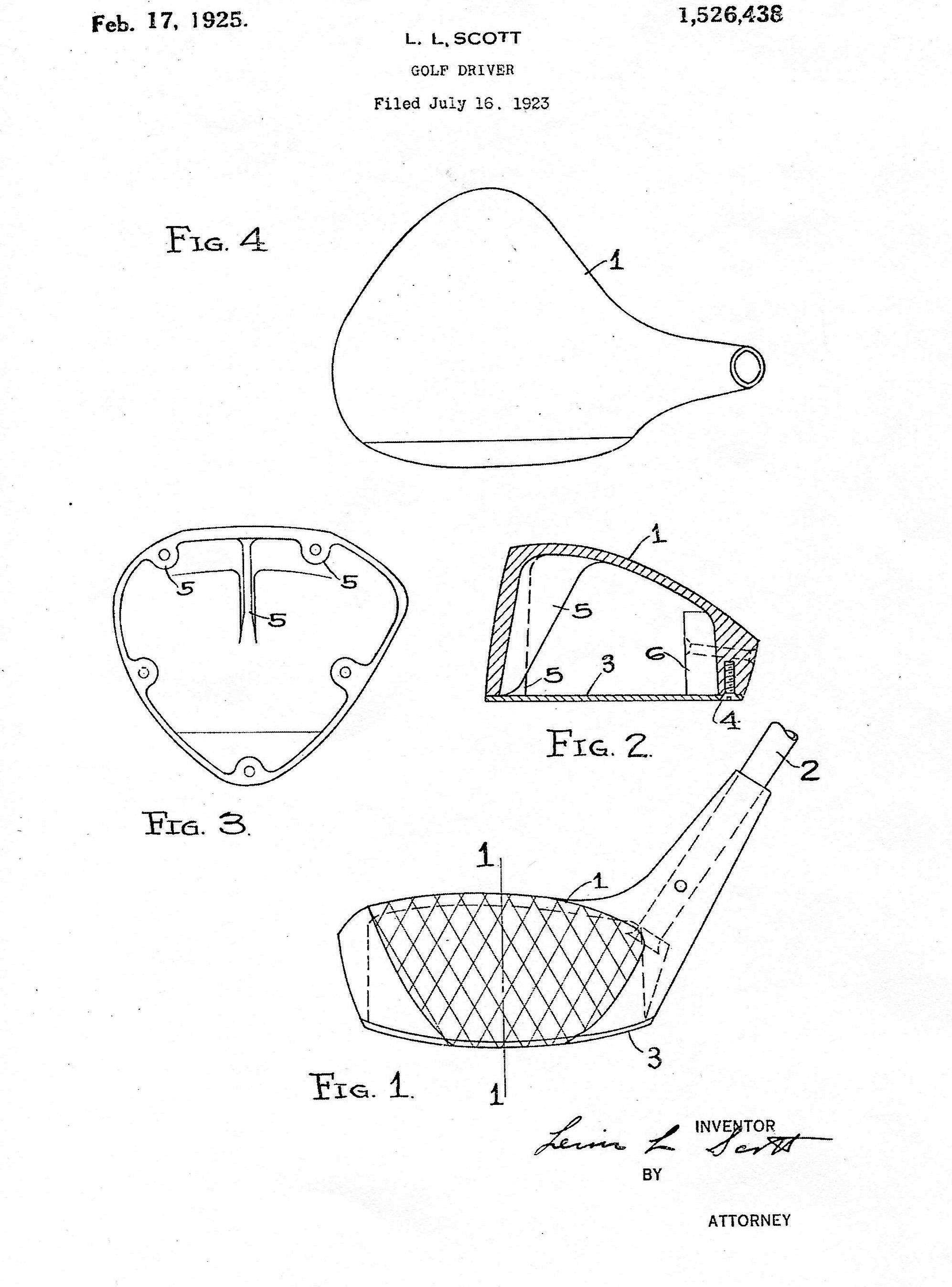 A copy to the patent drawings for the first metal golf