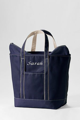 navy  monogrammed with classic initials  amb  large colored zip top tote bag from lands u0026 39  end