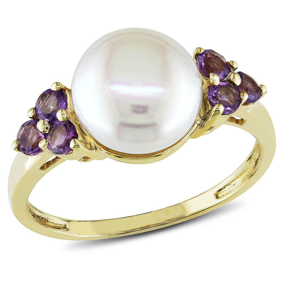 1/4ct TGW Amethyst and 8-8.5mm White Freshwater Cultured Pearl Fashion Ring in 10K Yellow Gold