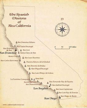 California Missions Map California Missions California Missions Project Spanish Missions In California