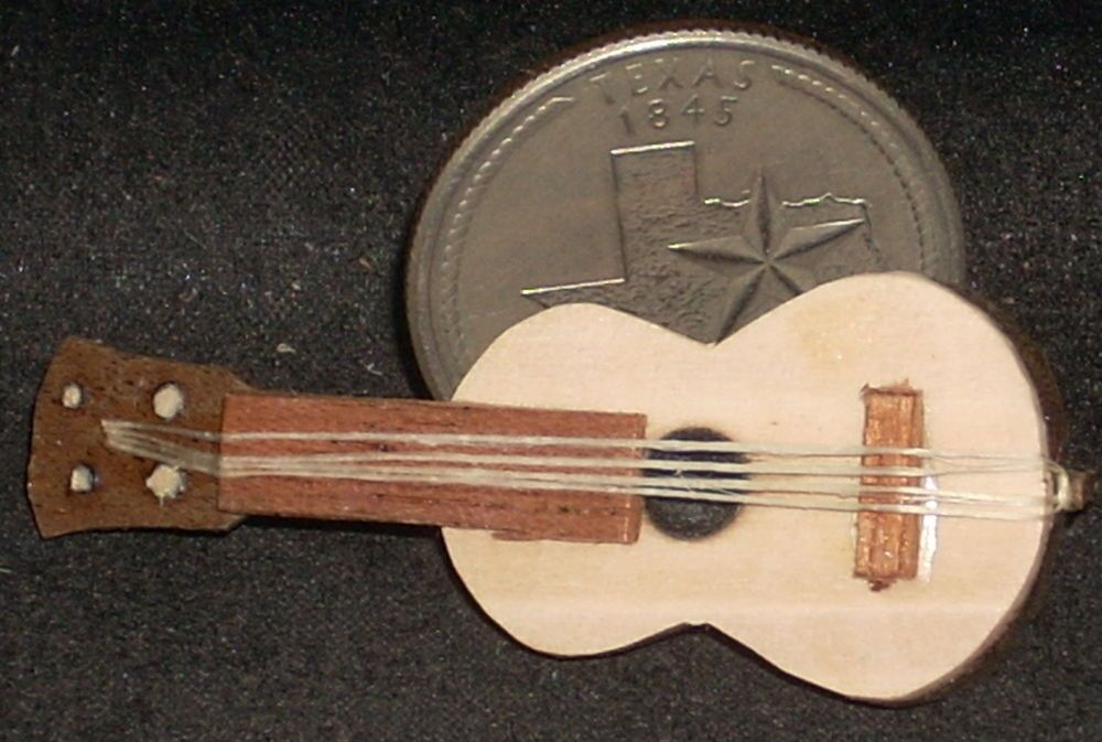 Dollhouse Miniature Mexican Wooden Folkrustic Guitar 1 12