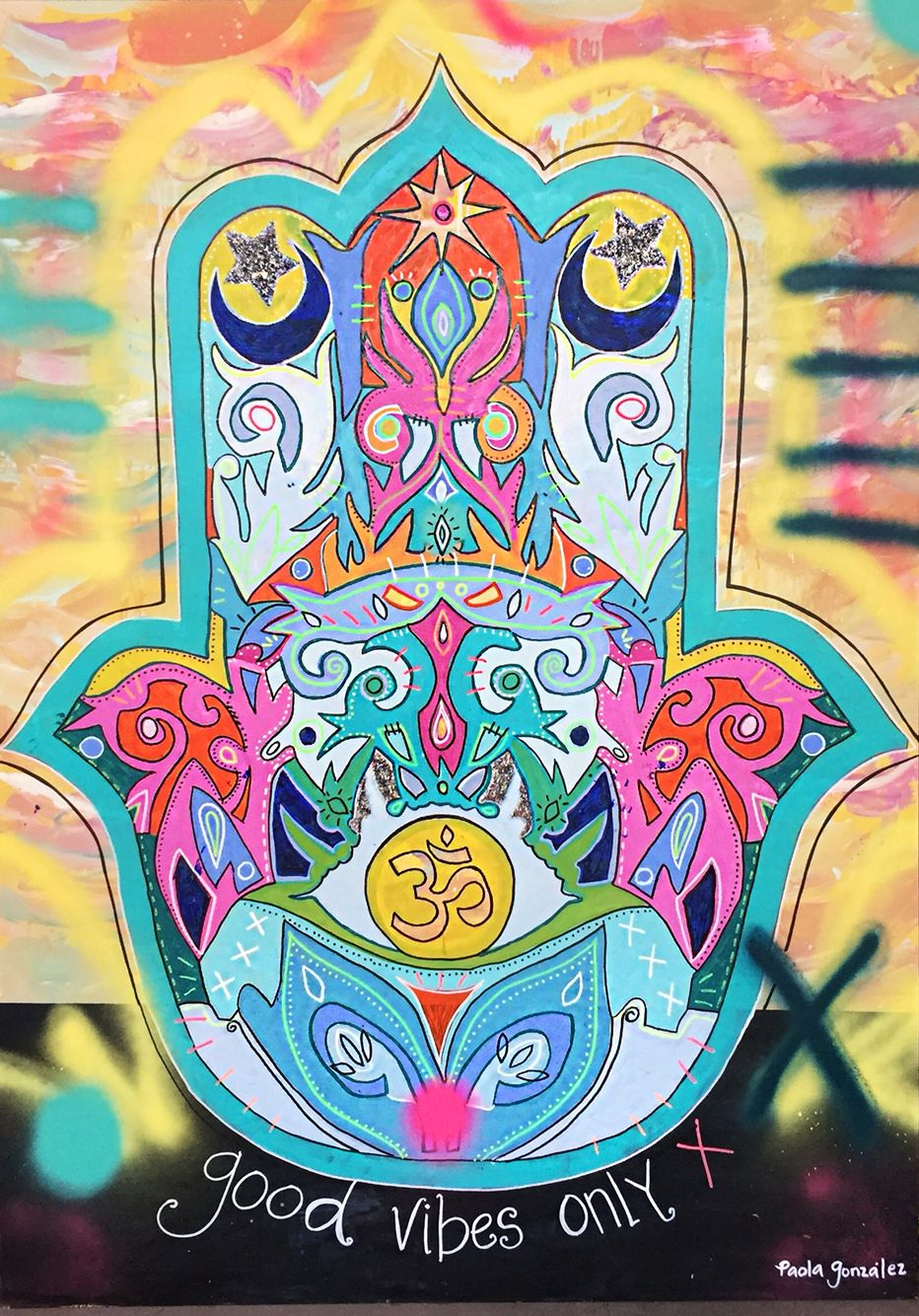 Art By Paola Gonzalez Hamsa Hand Fatima Arte Painting