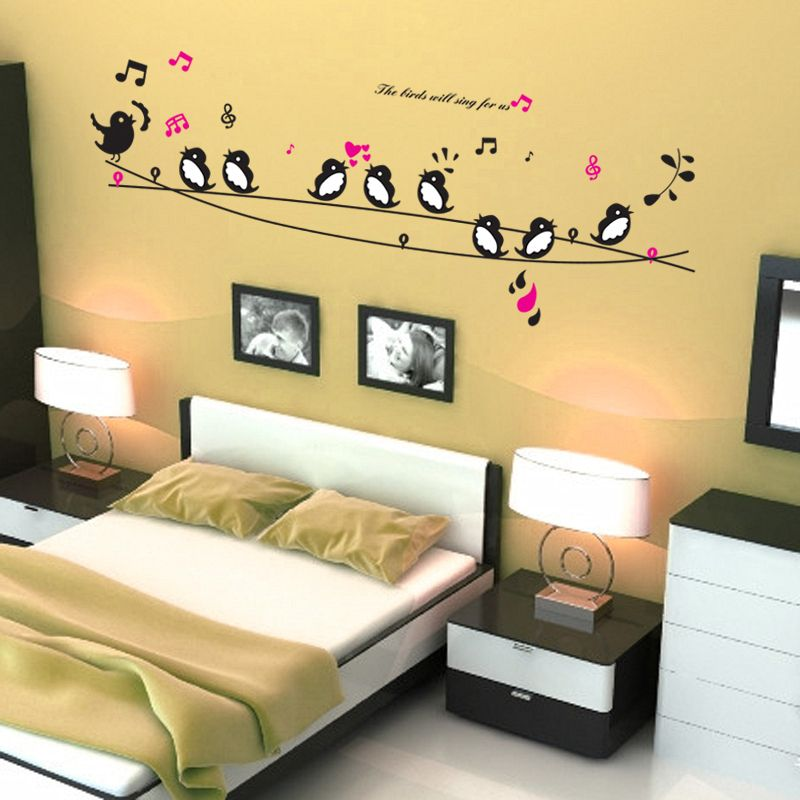 singing birds musical notes wall stickers living room decoration diy ...