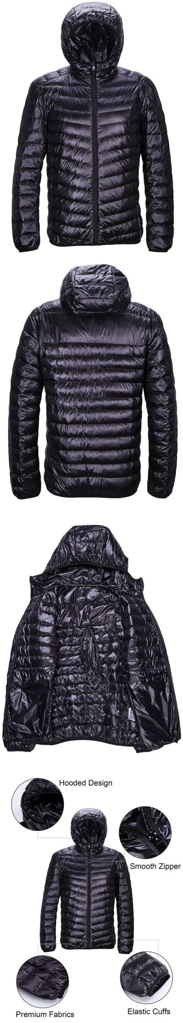Men Coats And Jackets: Mens Puffer Down Jacket Coat Feather Lightweight Packable Outwear Black -> BUY IT NOW ONLY: $32.99 on eBay!