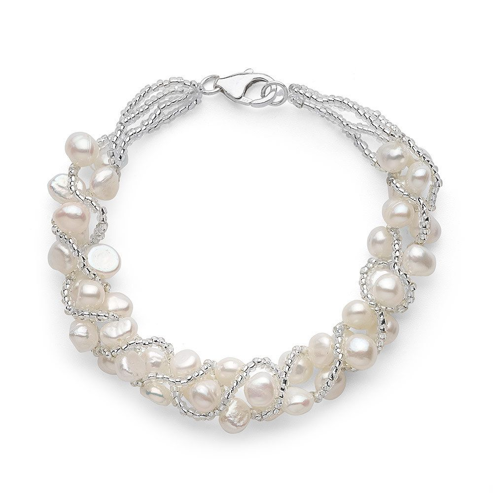 White 5-7mm freshwater pearls are woven with nylon thread in this 7.5-inch-long gorgeous bracelet. The lovely piece secures with a sterling silver lobster claw clasp.