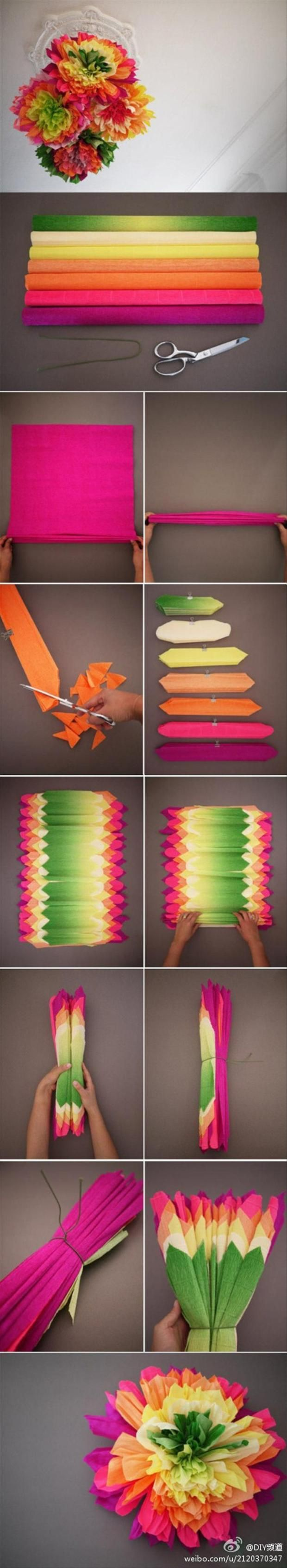 Layered Tissue Paper Flower Flowers Diy Crafts Instructions Home Decor Crafty Fabric Pillows Easy