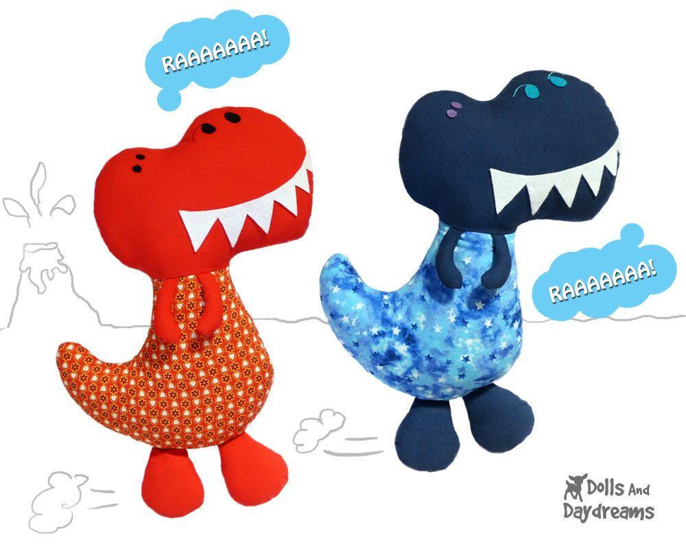 Dinosaur Sewing Pattern PDF T Rex Boy Softie DIY Plush by ...