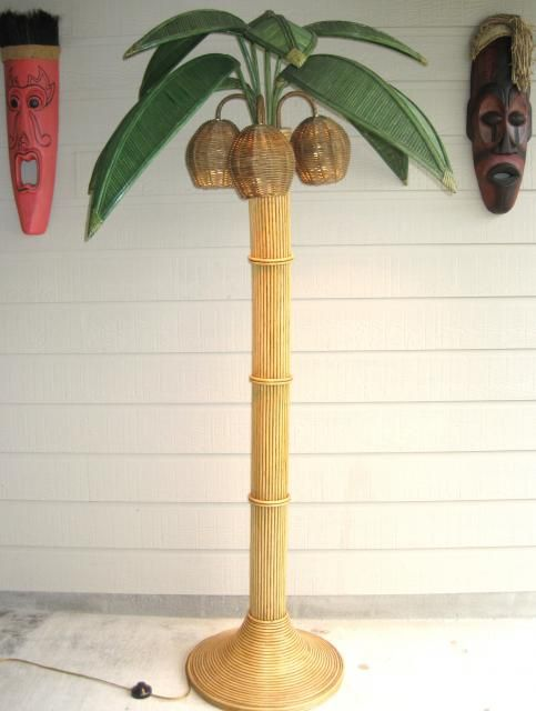 Bamboo Rattan Wicker Palm Tree Floor Lamp With Coconut