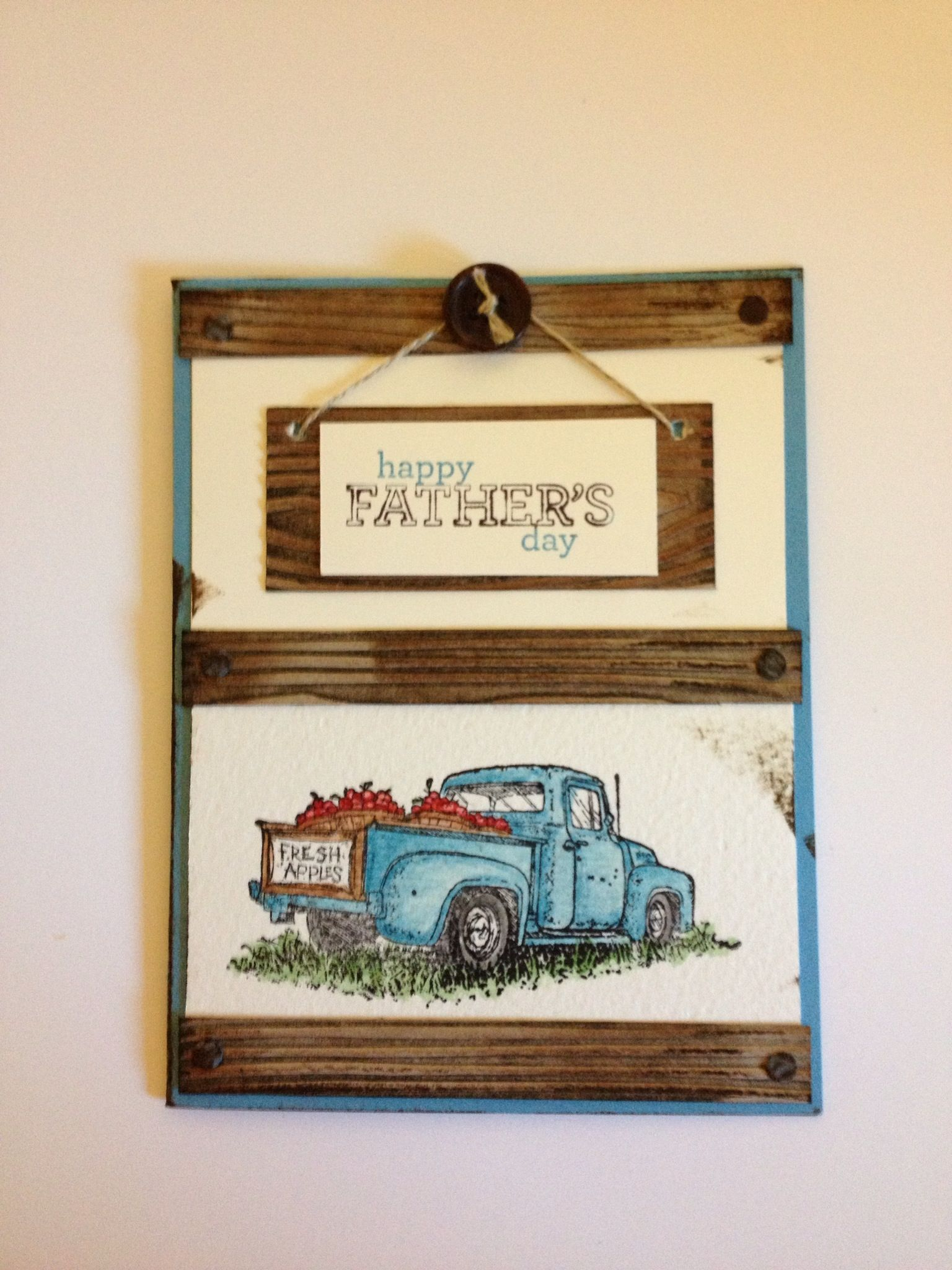 Country time stamp set. Happy Father's Day card for masculine card swap