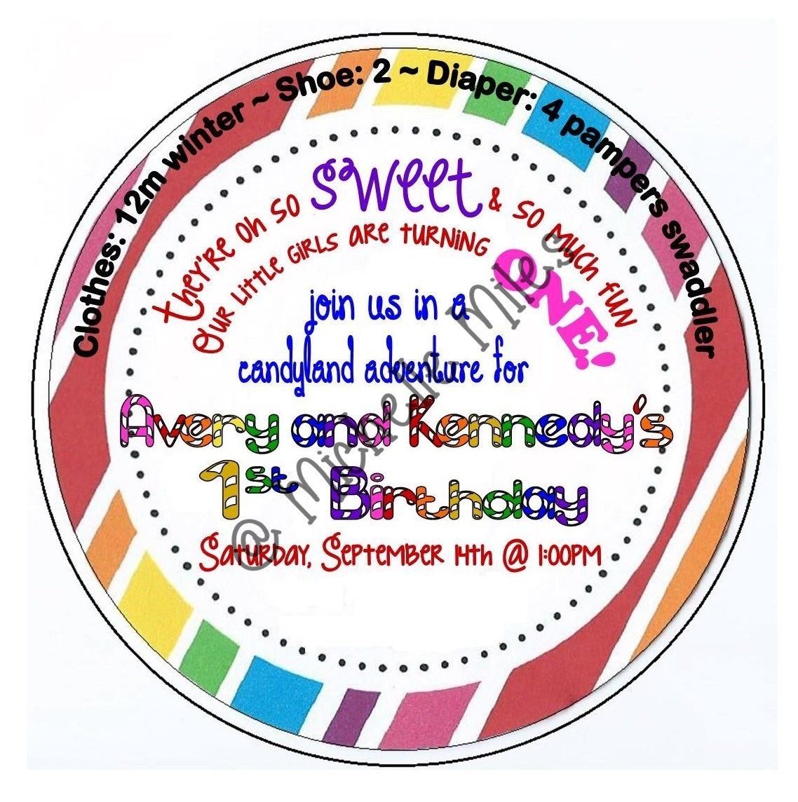 Candyland 1st Birthday Invitation Dont Forget To Include Clothing And Shoe Size Help Guest Out