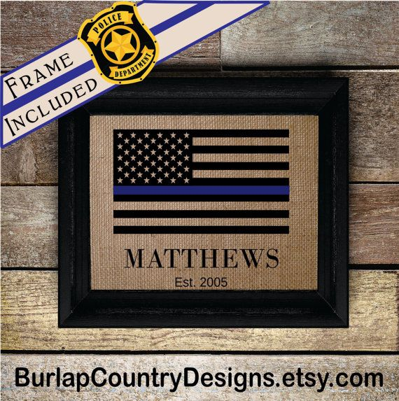 FRAMED Thin Blue Line Gift for Police Officer Thin Blue Line | Law ...