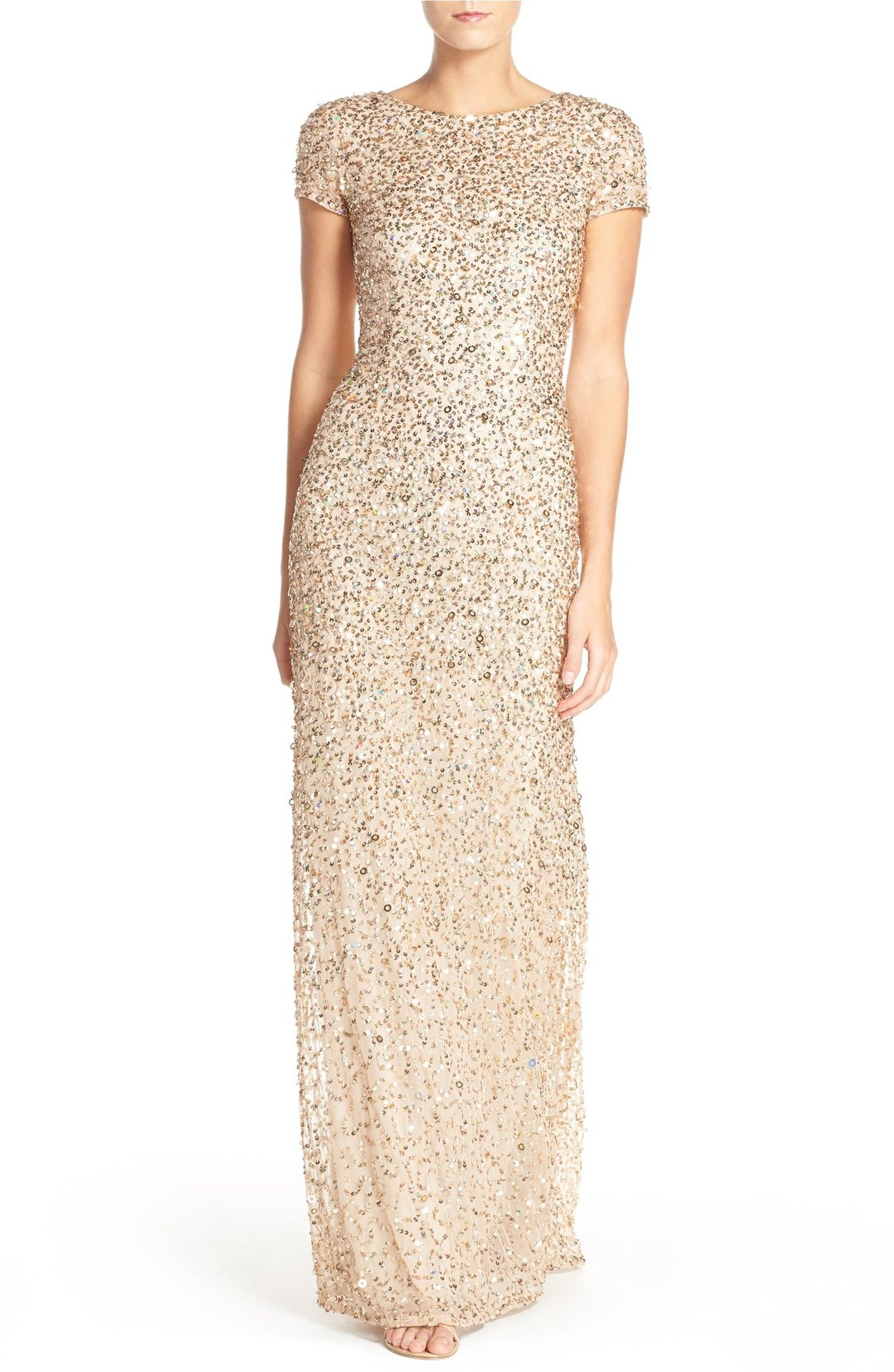 Short Sleeve Sequin Mesh Gown | Adrianna papell, Sequins and Short ...