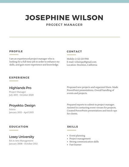 Blue Lines Simple Resume Simple Resume Template Basic Resume Simple Resume
