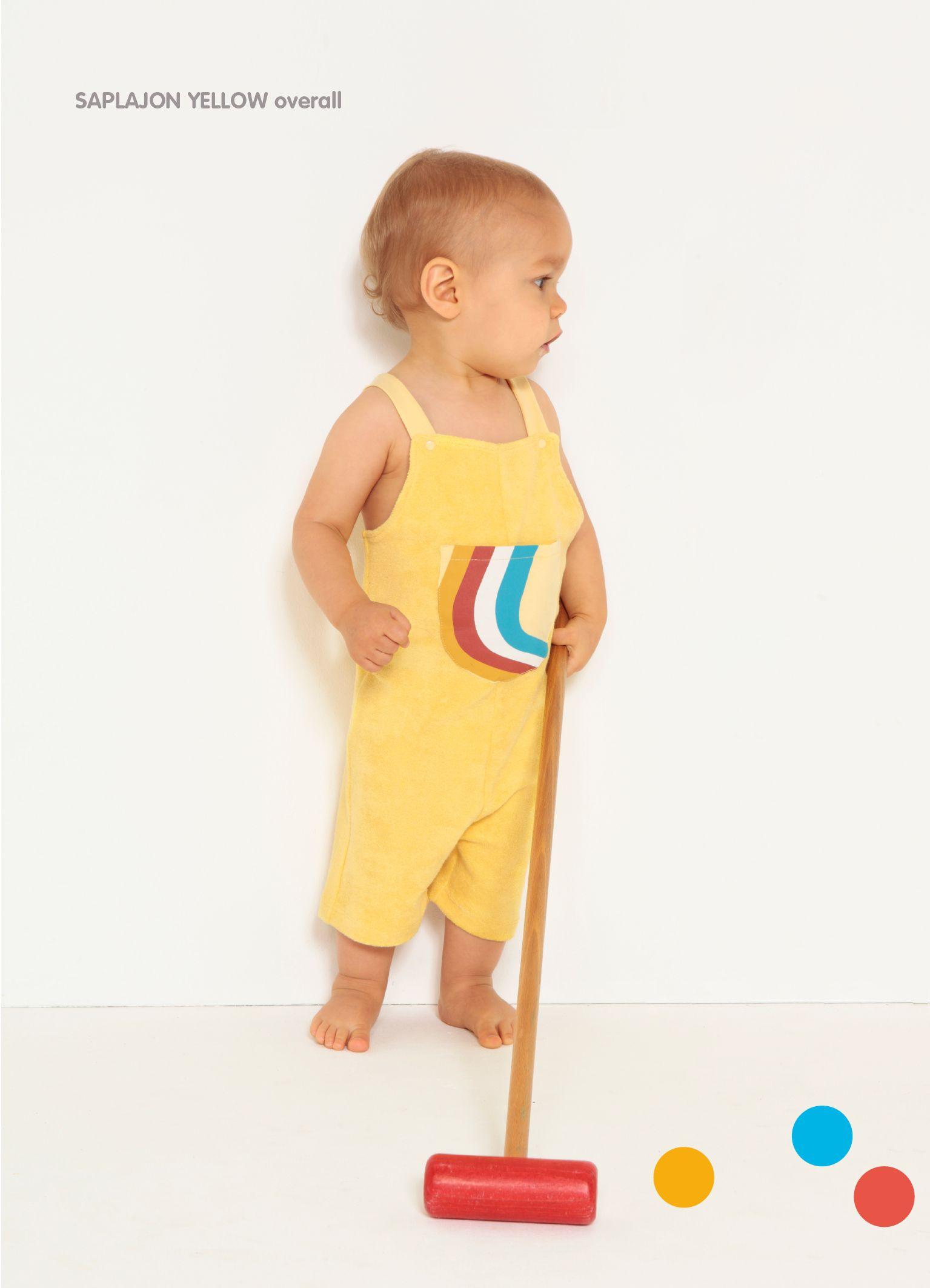 Yellow terry Saplayon shortsjohn with rainbow pocket - Dis Une Couleur