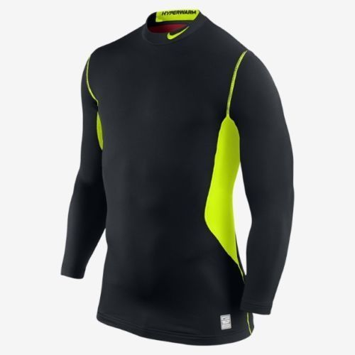 Nike Pro Combat Mens Dri Fit Fitted Hyperwarm Shirt Long Sleeve Black Size XL