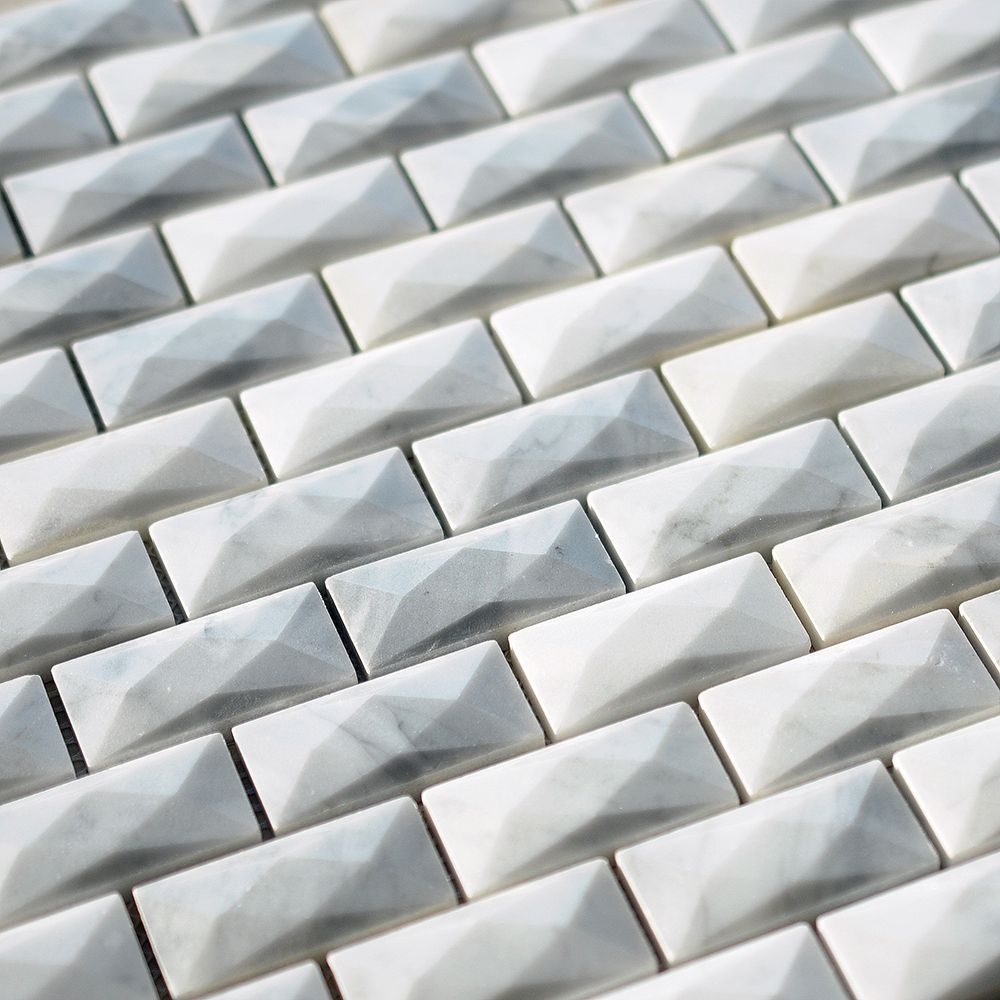 Bianco Carrara Marble 1x2 Polished 3D Waterjet Mosaic Tile From ...