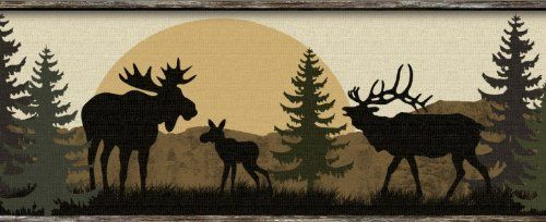 Moose Bear And Elk Silhouettes Wallpaper Border Amazon Com