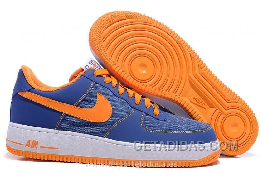 Air force 1 low hombres zapatillas azul naranja zapatos en