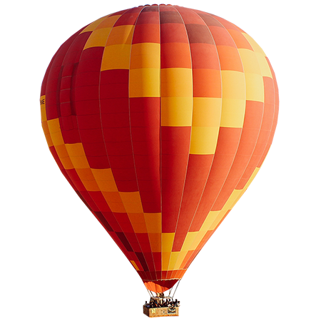 A bold red, yellow, and orange hot air balloon is