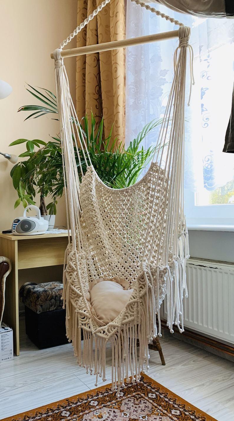 Hammock Chair Hanging Chair Macrame Chair Handmade Chair Macrame Swing In 2020 Macrame Chairs Handmade Chair Diy Hammock Chair