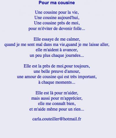 Un Poeme Pour Ma Cousine Cousin Citation Touchante Et