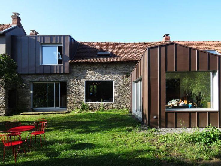 Modernité assurée pour cette maison ancienne! Extensions - agrandissement maison bois prix m