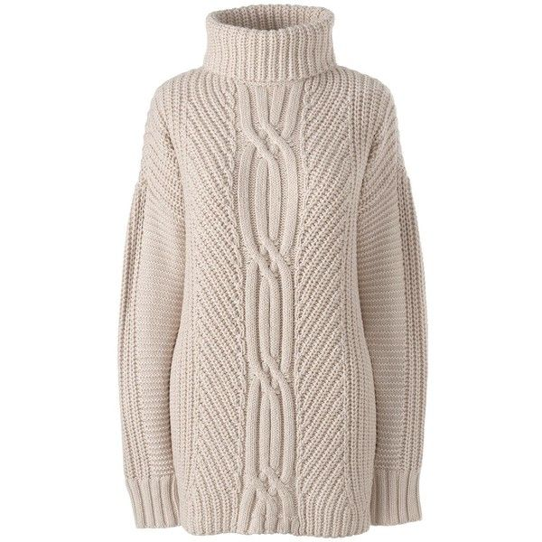Lands' End Women's Plus Size Cable Turtleneck Sweater - Shaker ...