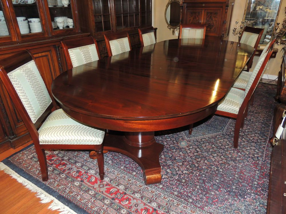 Stunning Antique 19th Century Round Oval Empire Mahogany Dining