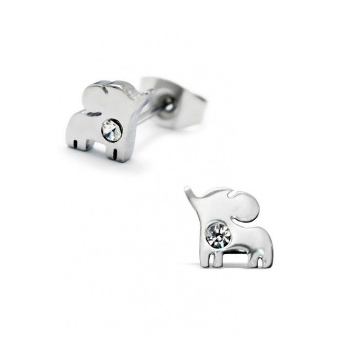Children S Earrings Surgical Steel Baby Elephants With Crystal