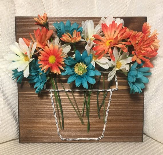 custom flower pot string art, floral home decor, nursery art